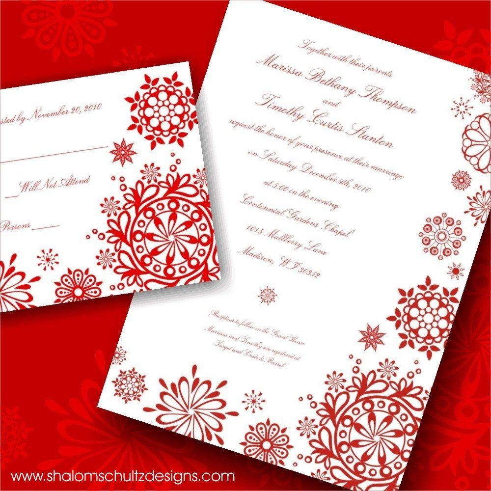 Wedding Invitations (Set of 100), Modern, Snowflake, Snow, Ice ...