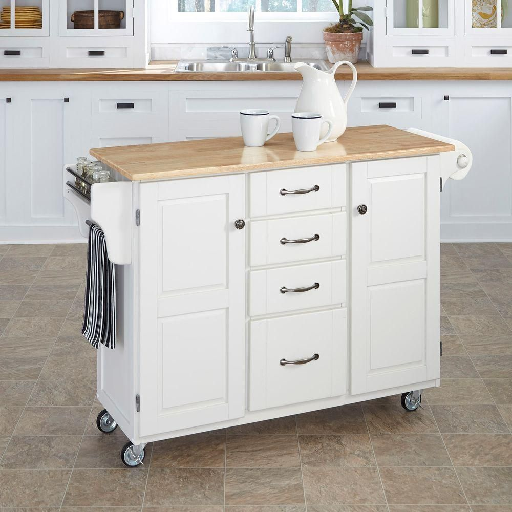 Homestyles Create A Cart White Kitchen Cart With Natural Wood Top