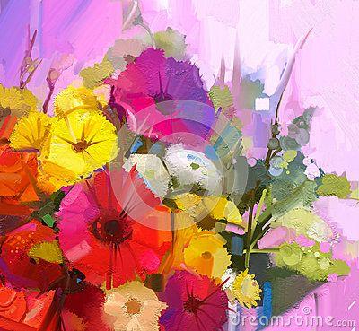 Todavía La Vida Del Color Amarillo Y Rojo Florece Pintura Al óleo Un Bouqu Flores Pintadas Pintura Flores Oleo Pintura Floral