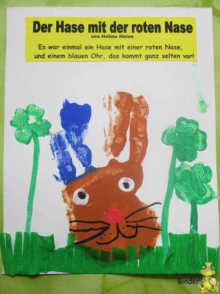 Buch Der Hase Mit Der Roten Nase Handabdruck Kunst Kinder Kinderbuch Kreativ Krippe Rote Nase Handabdruck Kunst Hase