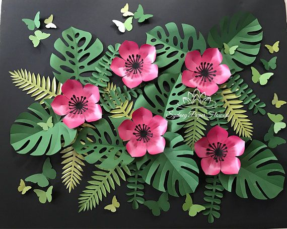 mini Tropical leaves backdrop/Jungle party backdrop/tropical