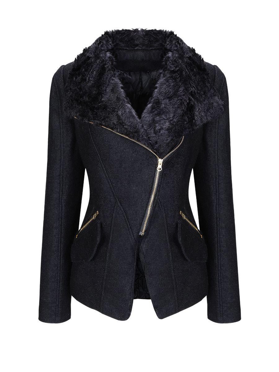 Faux Fur Collar Vented Zips Woolen Coat