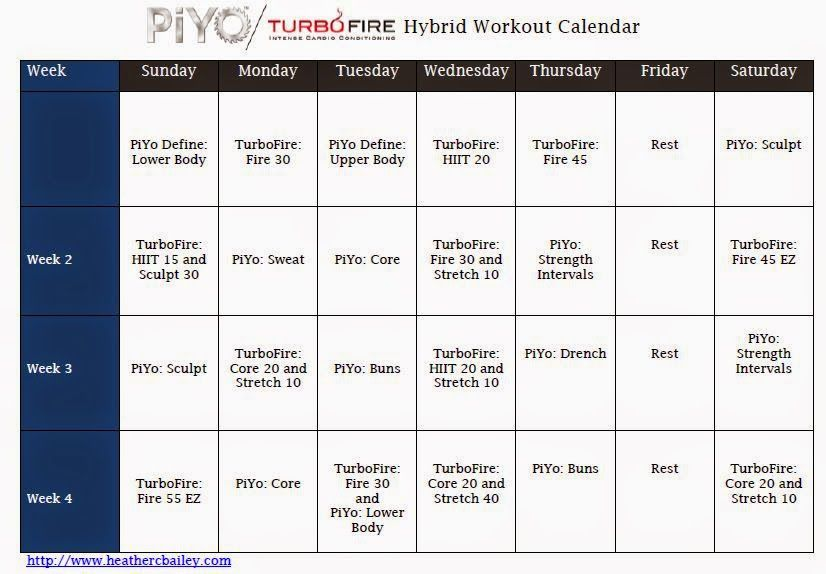 Piyo Turbo Fire Hybrid Calendar  Fitness    Beachbody