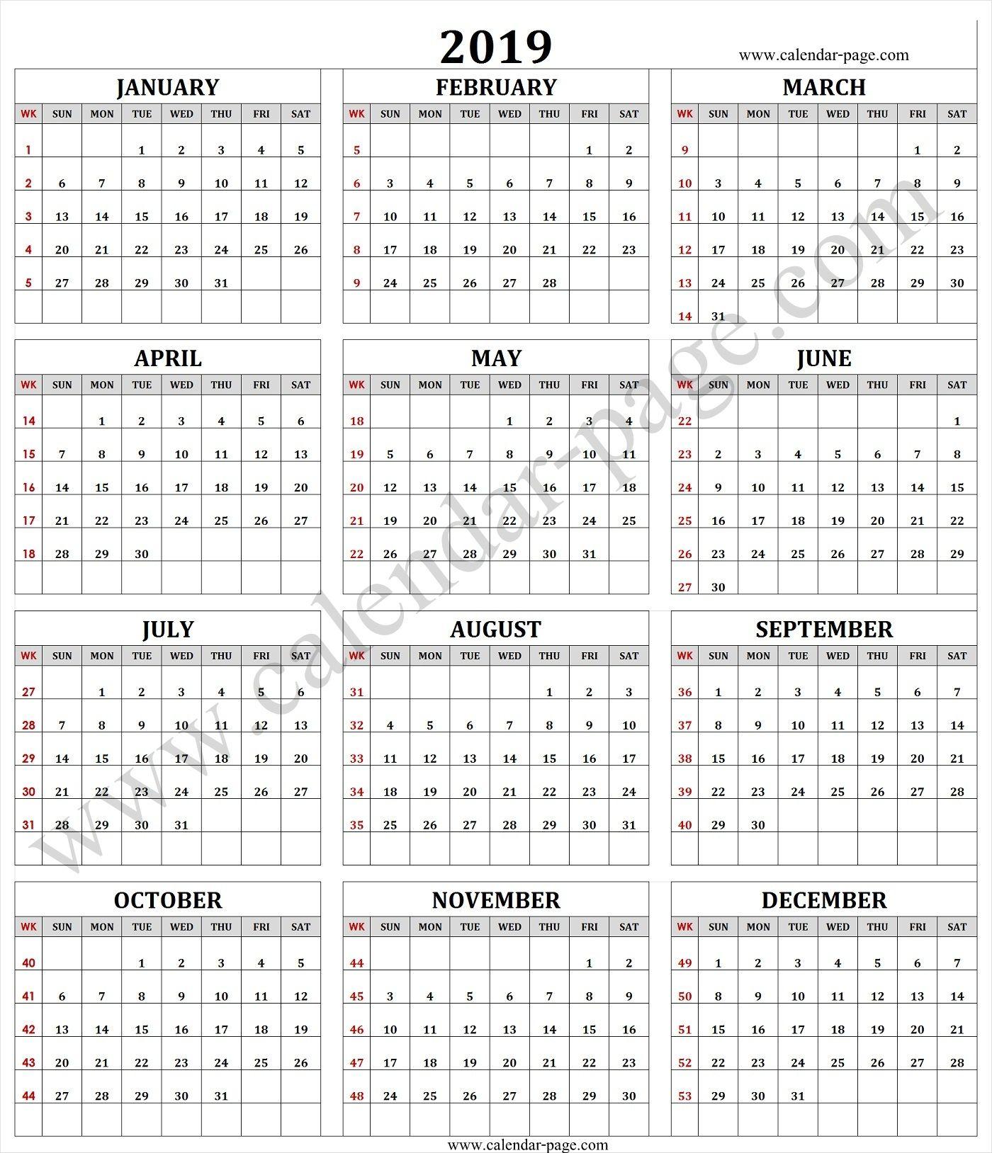 Calendar 2019 With Week Numbers Calendar 2019 With Week Numbers