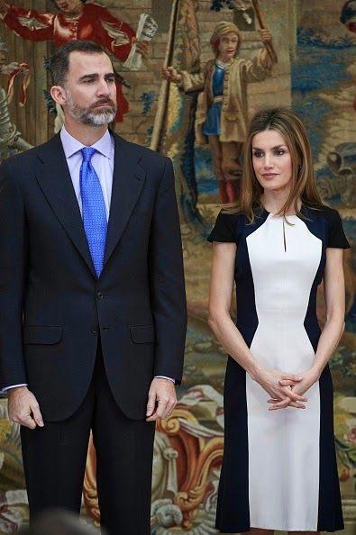 Spanish King Felipe VI and Queen Letizia attend the 'National Culture' awards at the El Pardo Palace on Feb 16, 2015 in Madrid, Spain