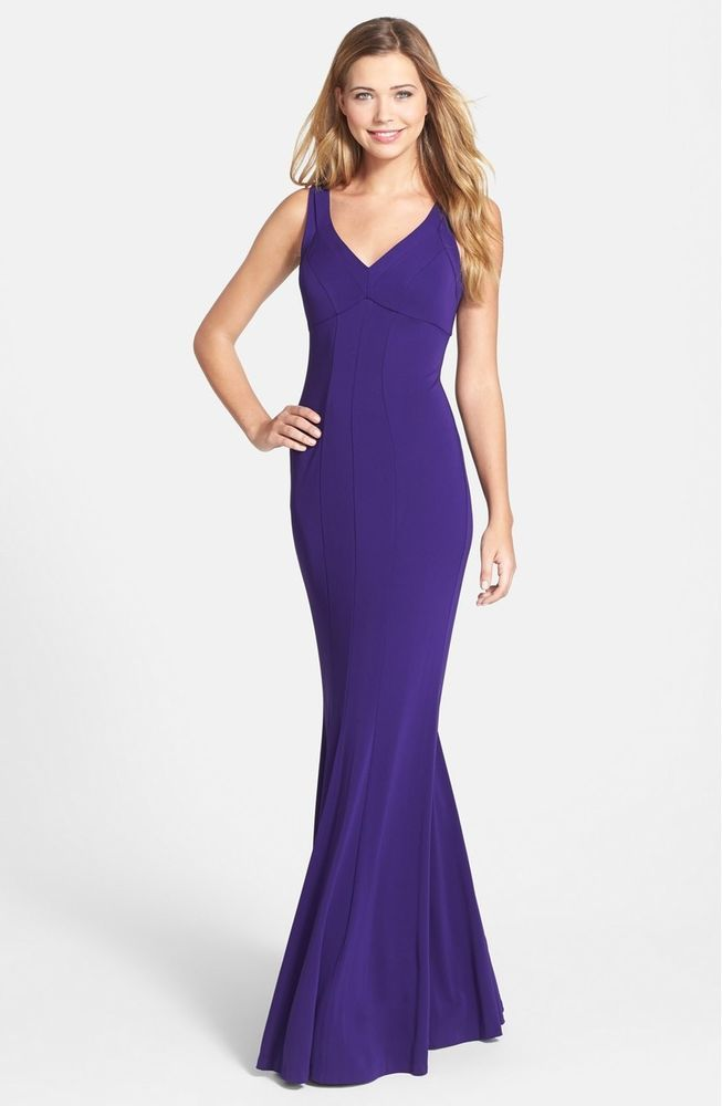 Nicole Miller V Neck Matte Jersey Trumpet Gown Purple Size 10 151