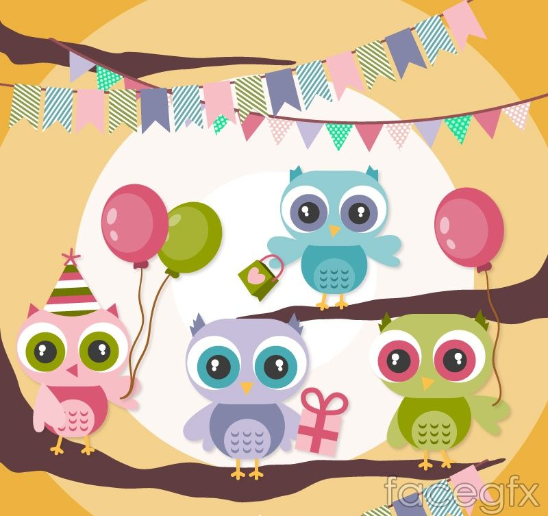 Cartoon owl holiday card vector birthday card drawing