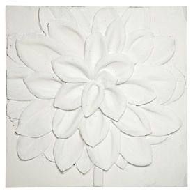 Resin Wall Art white resin floral canvas wall art 60x60cm | white wall sculptures