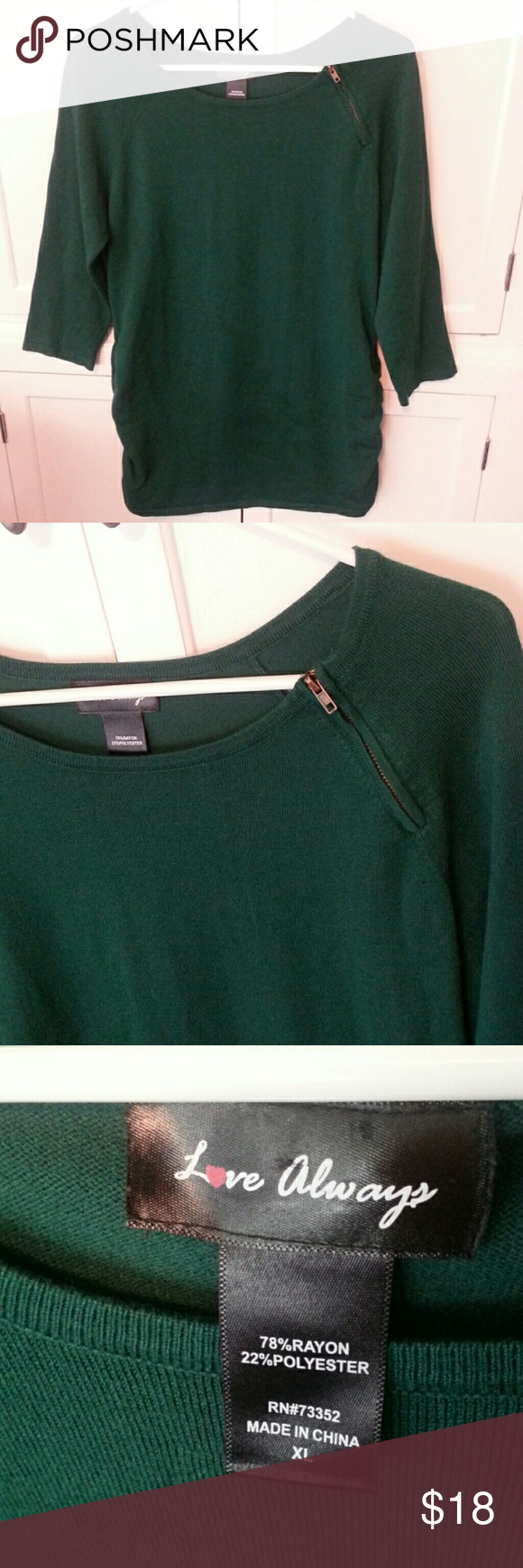 LOVE ALWAYS green tunic zip neck sweater