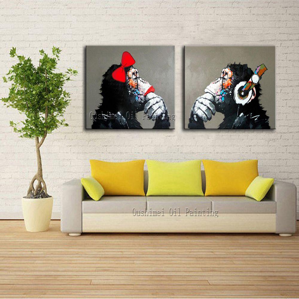 Decorative Art Handmade Monkey Oil Painting On Canvas Living Room ...