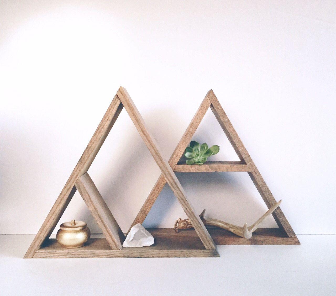 Hand stained triangle wood shelf home decor storage oak wood shelves modern shelving