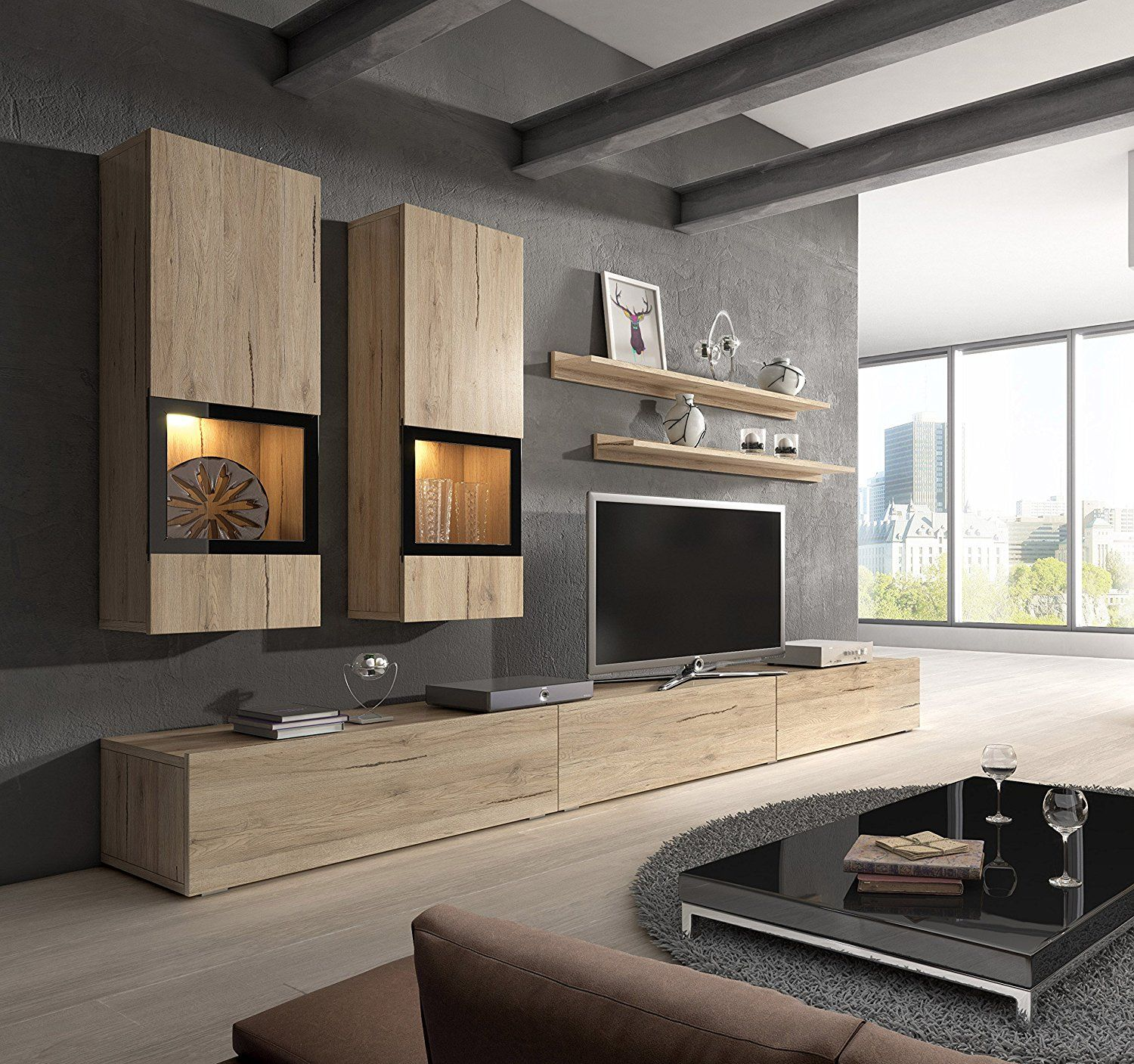 Modern living room design ideas with baros sonoma oak wall unit modern entertainment center contemporary design led lights high capacity storage baros