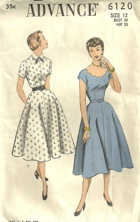 Advance 6120 Vintage 50s Sewing Pattern Dress Size 12 | Moda vintage ...