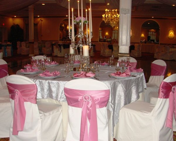 Silver Tablecloths Pink Covers On Chairs But Id Want A Hot Color Of Instead