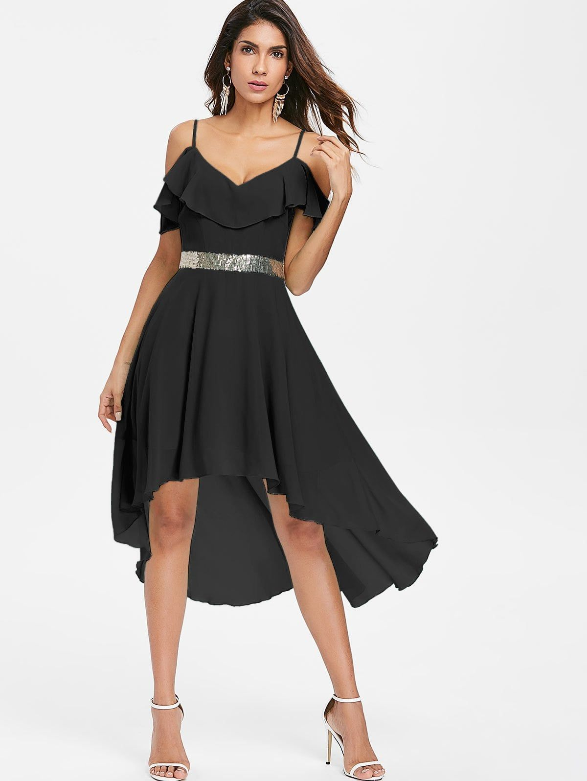 cold shoulder chiffon high low flowy dress black m in chiffon
