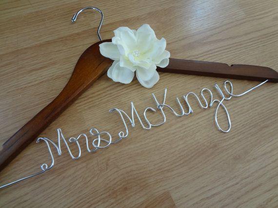 Personalized Hanger Wedding Hangers Custom Brides Mrs Bridal