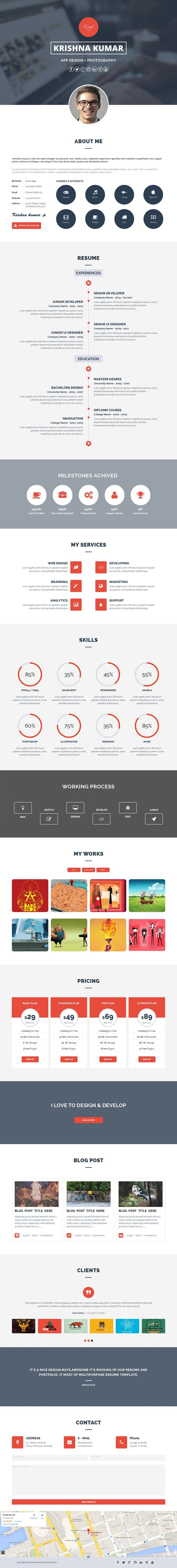 best online resume ideas pinterest template krish parallax one page ...