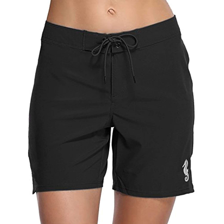 Women Swimsuit Shorts Swim Briefs Bottom Boardshort Summer Beach Trunks Stretch