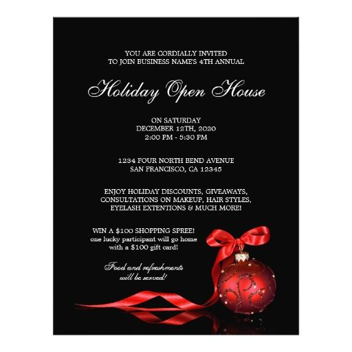 Business Christmas Open House Invitations Postcard Holiday Open - invitation flyer template