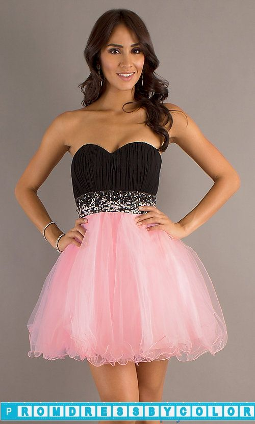 Black Prom Dresses - Short Strapless Sweetheart A-Line Tulle Dress ...
