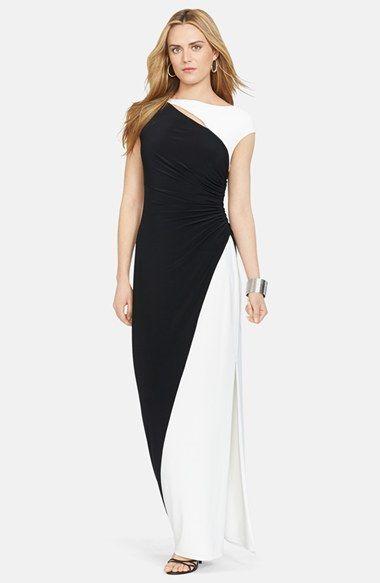 a64323cc8482b 1960s style prom dress - Women's Lauren Ralph Lauren Colorblock Cutout Jersey  Gown