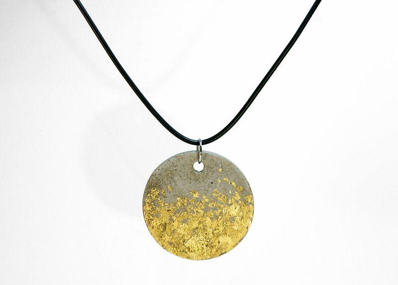 Colliers betonschmuck mit blattgold ein designerst ck - Blattgold basteln ...