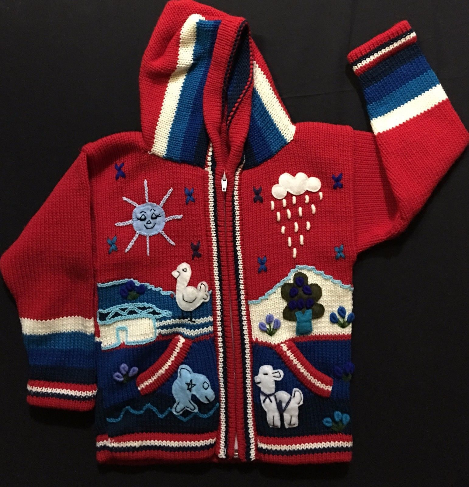 Child/'s Arpillera Handmade Peruvian Sweater From Peru Pink 3T