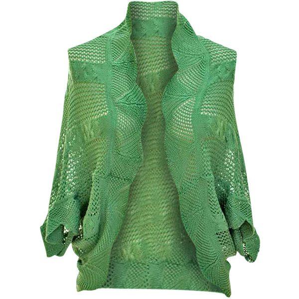 Jon & Anna  Sage Green Crochet Open Knit Scalloped Edge Shrug (£16) ❤ liked on Polyvore featuring green shrug, crochet shrug and shrug cardigan