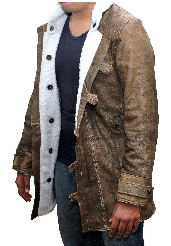 Distressed Brown Real Leather Coat Men Sheepskin Jacket Best Seller At Amazon Men S Clothing Sto Mens Shearling Jacket Mens Shearling Coat Leather Jacket Men [ 1500 x 1044 Pixel ]