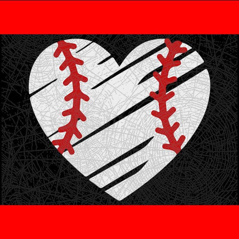 Baseball Heart Cut File // DxF // EPS // PDF // Pn