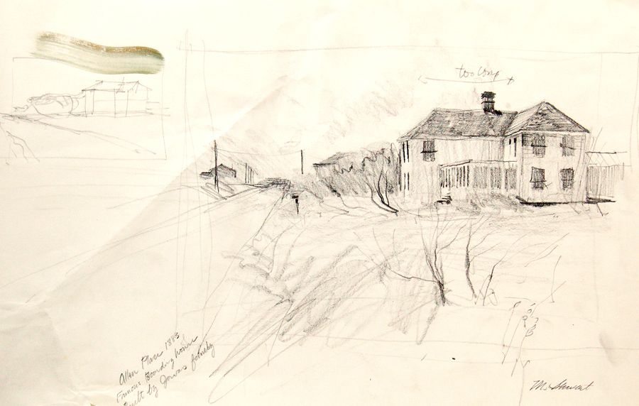 """6""""x10"""" pencil drawing of an old house on Quintana Beach ..."""