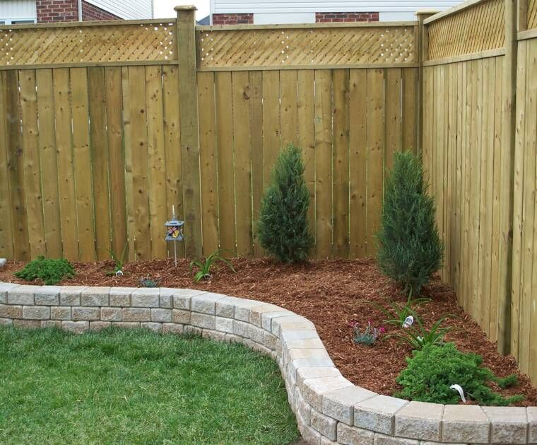 Privacy fence landscaping idea yard patio garage for No maintenance flower bed