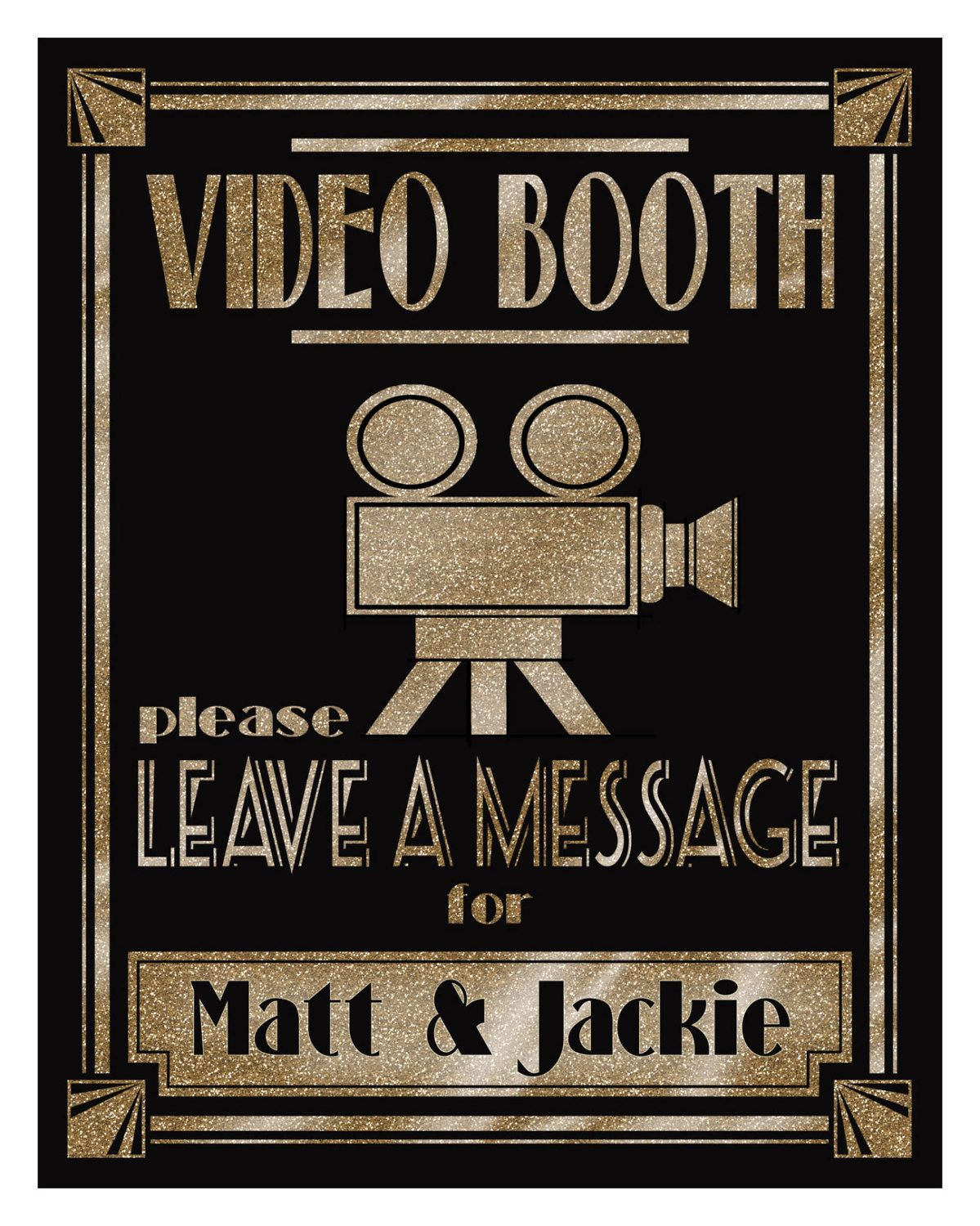 Personalized Video Booth Sign Printable 1920 S Wedding Etsy In 2020 Video Booth Sign Video Booth Printable Personalized