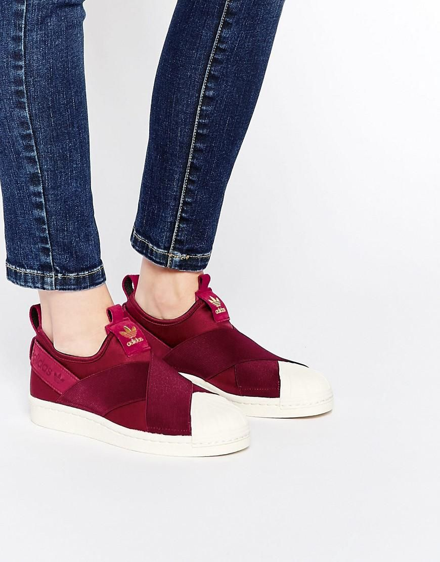 detailed look 1b326 4f981 Adidas  adidas Originals Superstar Burgundy Slip On Trainers at ASOS