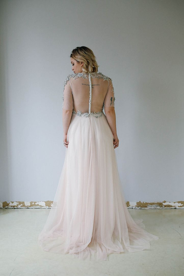 Gorgeous Illusion Back Wedding Gown With Embroidery.   Priscilla ...