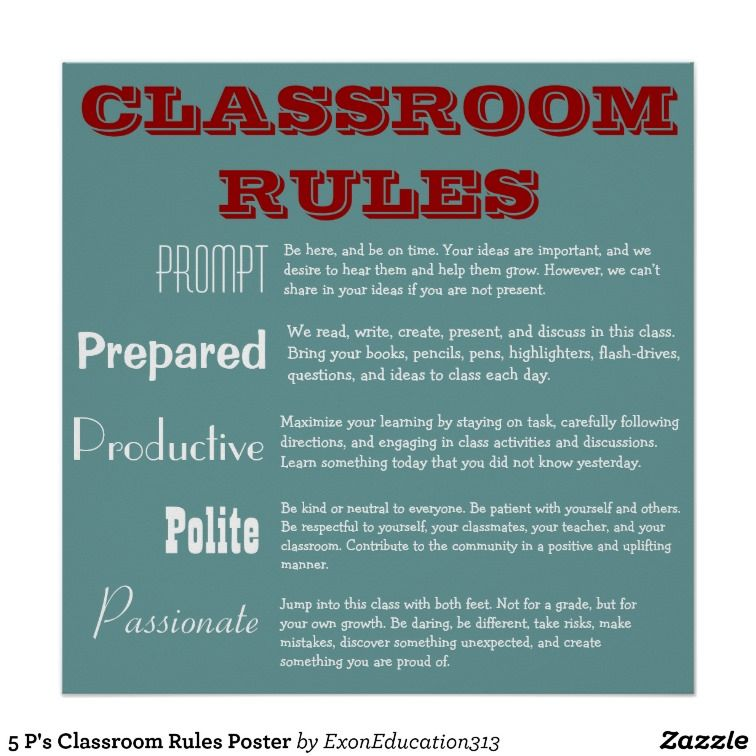 5 P\'s Classroom Rules Poster | English teacher | Pinterest ...