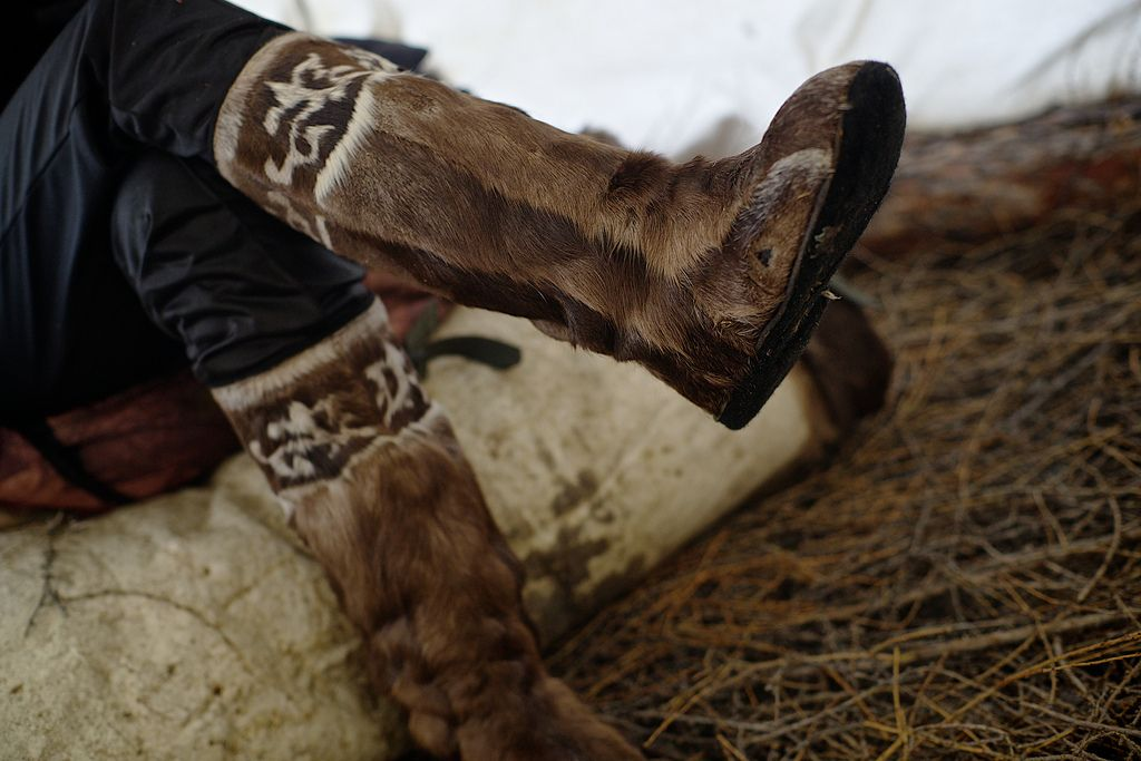 Reindeer skin traditional boot