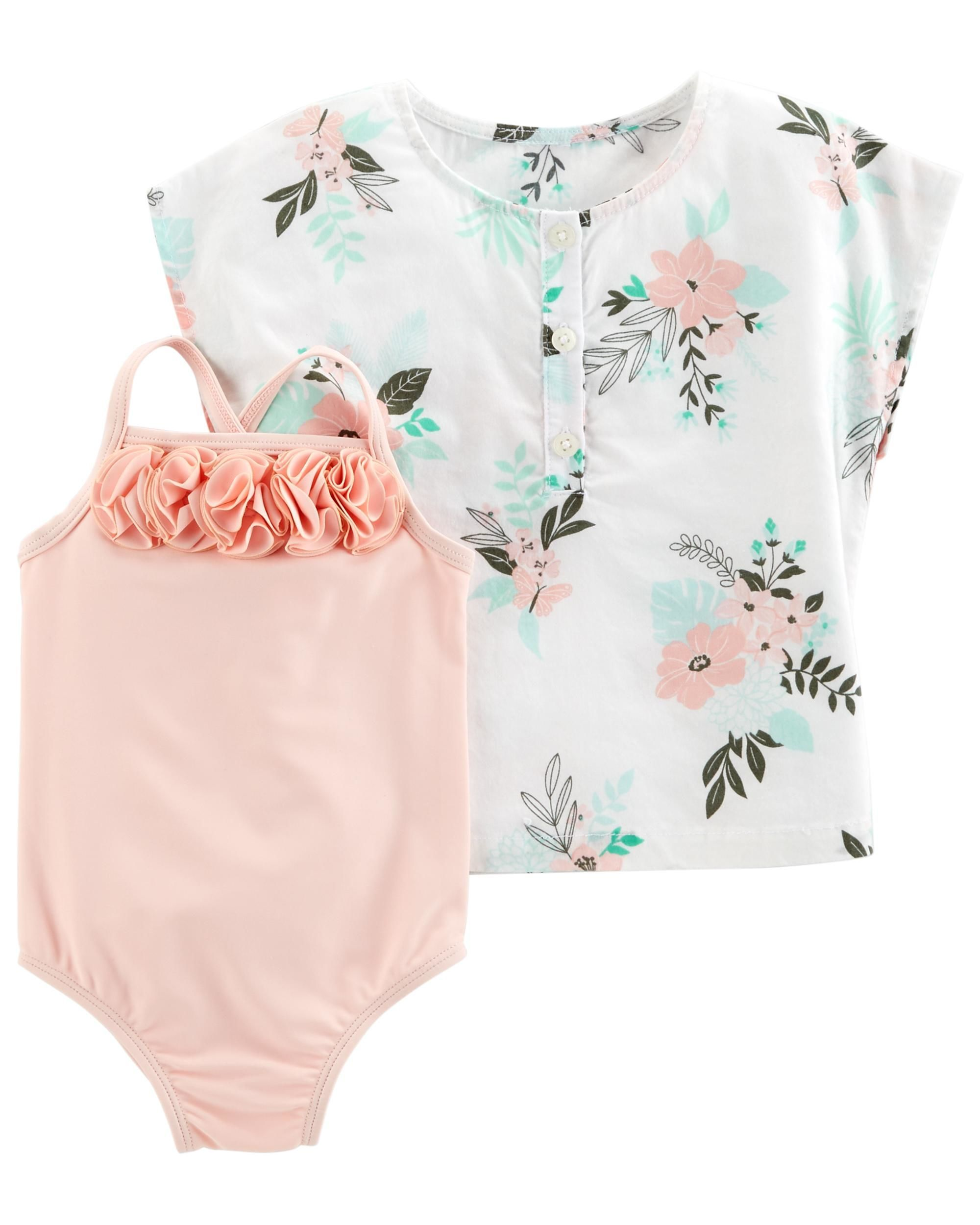 997d8fb7df Get her ready for summer vacation with this 2-piece set. Complete with a 1-piece  bathing suit and floral cotton cover-up.