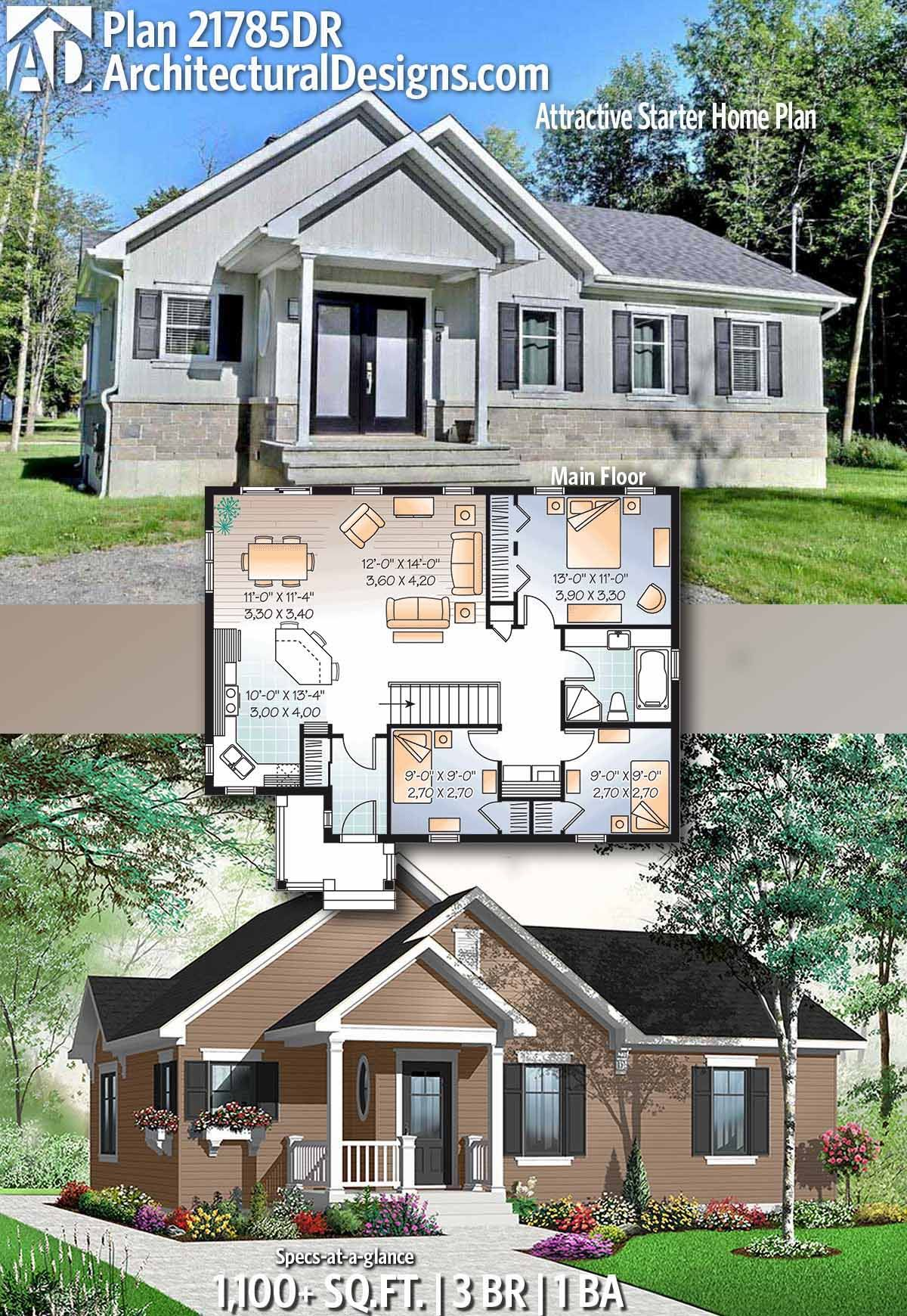 Plan 21785dr Attractive Starter Home Plan Sims House Plans House Plans Sims 4 House Building