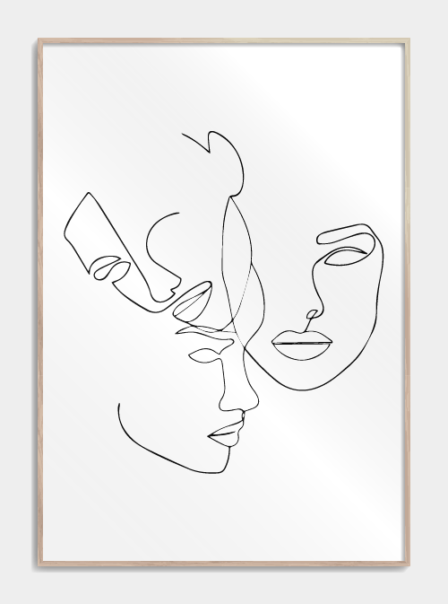Three faces in one line plakat | ansigter one line drawing plakat
