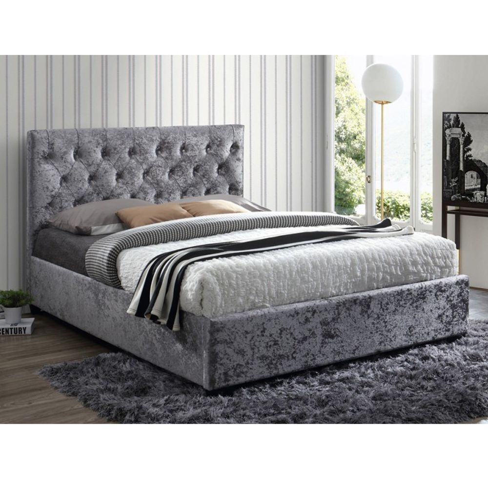 Upholstered Kingsize Bed Grey Finish Steel Frame Wood Feet Bedroom