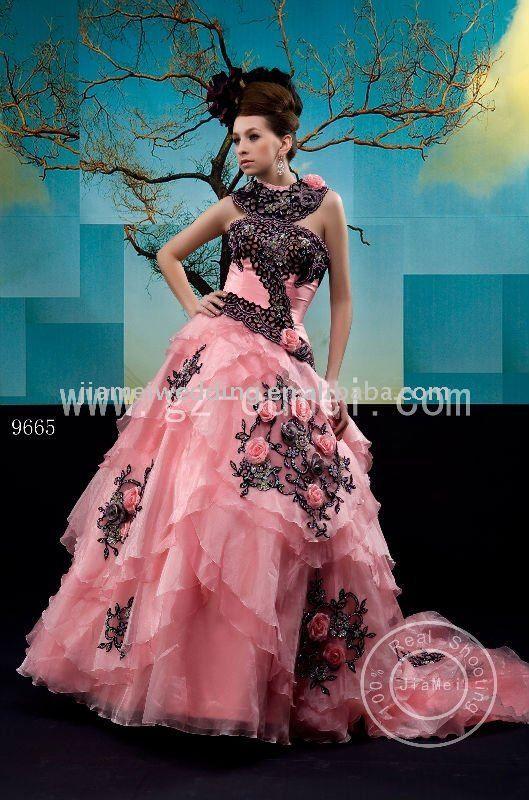 Black And Orange Wedding Dresses | elegant pink and black wedding ...