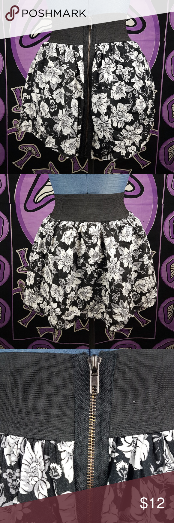 3571eeb088dd2 Material Girl XS Mini Floral Skirt White Black Zip Juniors   Womens  Material Girl by Madonna