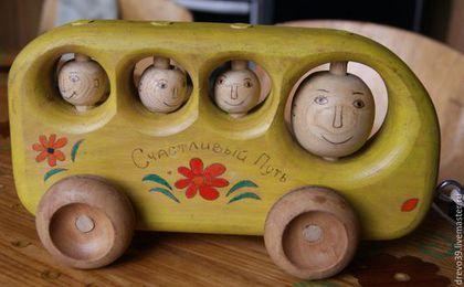 Вальдорфская игрушка ручной работы. Ярмарка Мастеров - ручная работа. Купить Деревянная игрушка - автобус. Handmade. Игрушка ручной работы
