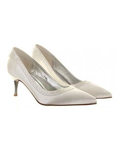 5ace1f067 Satin court shoe with metallic heel and dusted crystal. Perfect for any  bride to wear on her wedding day. This is a comfortable, dyeable shoe.
