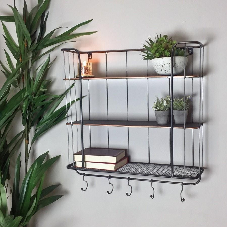 Industrial Wall Shelf with Hooks   Large   Industrial wall shelves ...