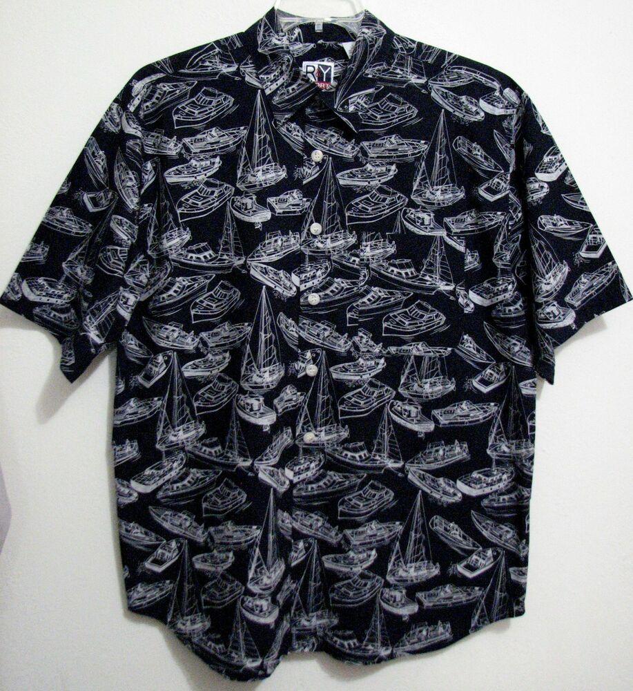 Bugatchi Mens Tailored Fit Navy Printed Nautical Short Sleeve Shirt