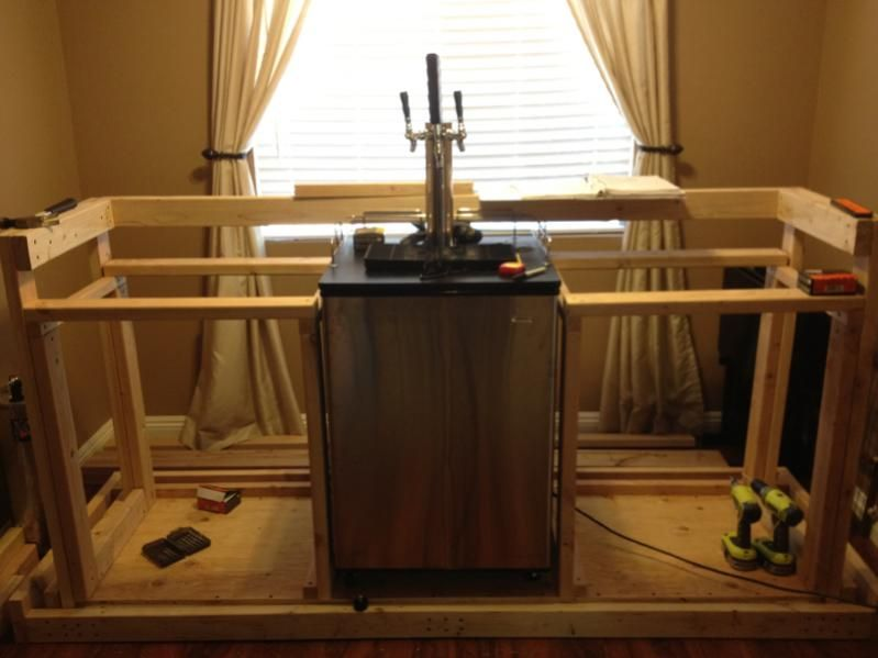 Show us your kegerator page 359 home brew forums bar for Home bar with kegerator space