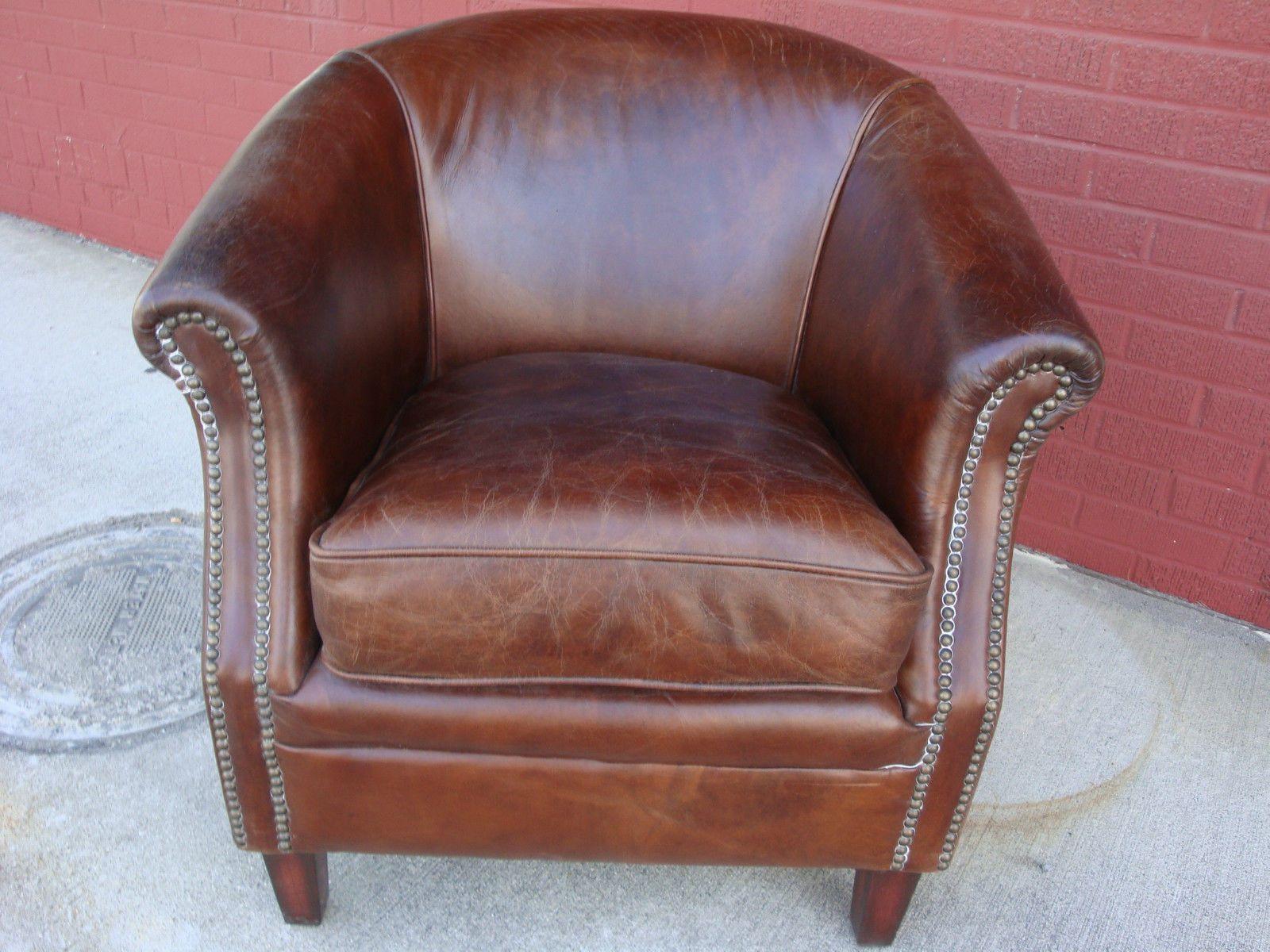 Leather Cigar Chair Saucer Vintage Brown Top Grain Club Pub