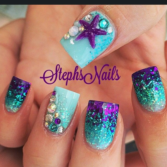 mermaid#nails#mintblue#teal#purple#glitter#tripleombre#allglitter ...